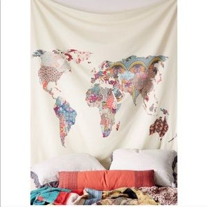 Map of the World Patchwork Boho Tapestry